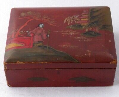Antique Japanese Red Lacquerware Box - Hinged Lid - Needs Tlc