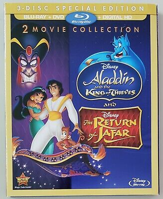 Disney Aladdin Sequels (Blu-Ray+DVD, Slipcover) King of Thieves, Return of Jafar