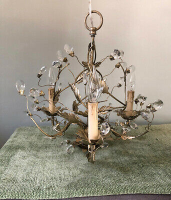 "Chandelier - Antique Silver finish, ""Petite,"" 18 in. high x 18.5 in. diameter"
