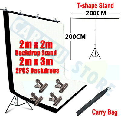 Photography Studio Black White Backdrop Background Stand Kit T-shape Support NEW