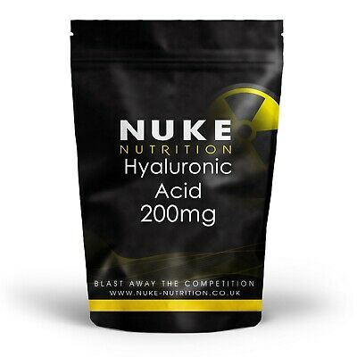 Nuke Nutrition Hyaluronic Acid Tablets 200mg Skin Care Anti Aging - 60 Capsules