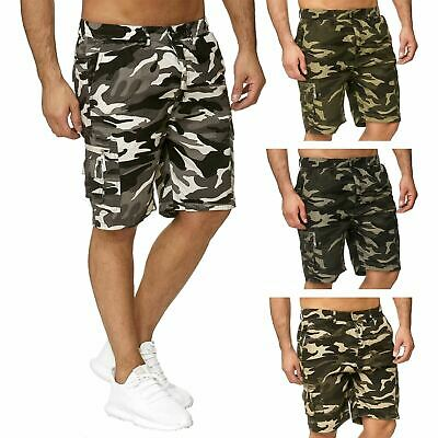 Mens Camouflage Cargo Elasticated Shorts Cotton Combat Army Half Pants M-5XL