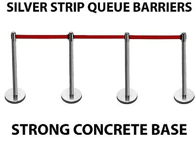 4 X Silver Strip Queue Barrier Posts Stands Security Stanchion Rope Divider Set