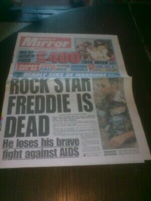 Daily Mirror 25/11/1991 Freddie Mercury Death Front Page (6 Pages)