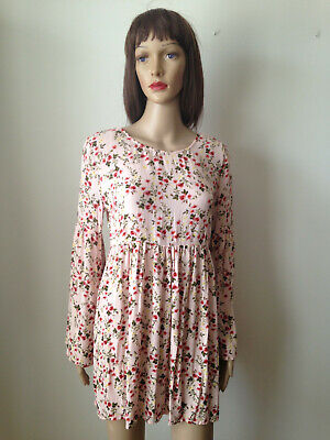 FOREVER 21 Sz L Blush Floral Crinkle Rayon Loose DRESS Low Back Long Sleeve EUC