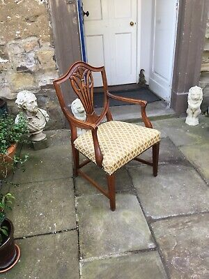 Edwardian mahogany framed open arm salon or desk chair