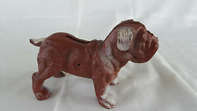 Vtg Small Unmarked Cast Iron Bull Dog Piggy Bank Figurine Still Bank