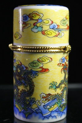 Collection Handwork Porcelain Painting Three Roaring Dragon Unique Toothpick Box