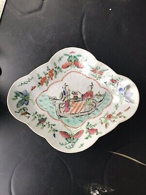 1. 19th Century Antique Chinese Export Famille Rose Porcelain  high foot Plate