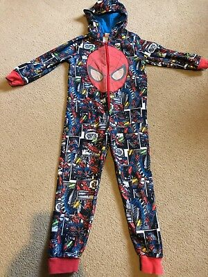 Cute Onesy All In One Snuggle Suit Kids Spider-Man Print Age 4 5