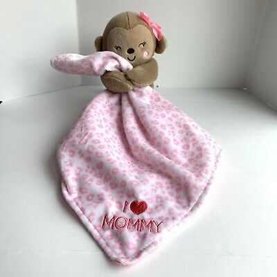 Child Of Mine Carters Monkey I Love Mommy Security Blanket Lovey Rattle Pink