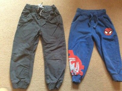 Boys Bundle Next Grey Padded Trousers & Spider-Man Trackies Jeans Age 3 Years