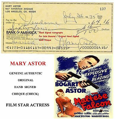 Mary Astor Film Star Actress Genuine Hand Signed Bank Cheque Early Scarce Item