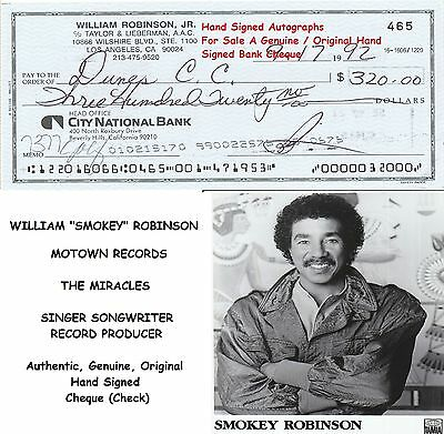 William Smokey Robinson  The Miracles Motown  Hand SIgned Cheque Check  1992