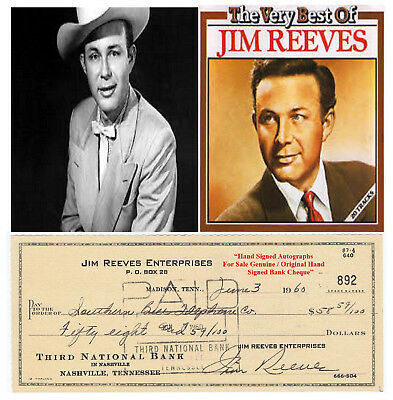 """JIM REEVES  """"Gentleman Jim""""   HAND SIGNED BANK CHEQUE DATED 1960 VERY RARE ITEM"""
