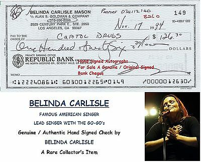 BELINDA CARLISLE  SINGER WITH GO-GO's GENUINE HAND SIGNED BANK CHEQUE  RARE ITEM
