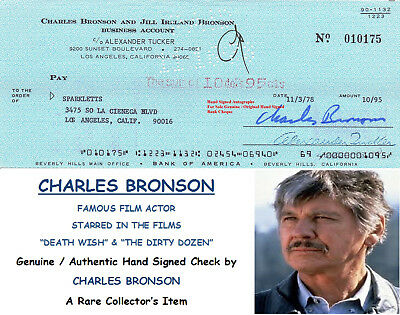 Charles Bronson  Actor Death Wish The Mechanic Signed Bank Cheque 1978 Rare Item