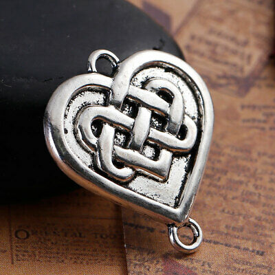 10 x Silver heart shaped Celtic knot connectors charm pendant jewellery 28mm