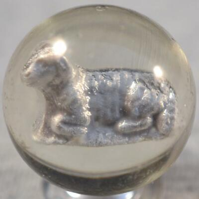 """SMALL GERMAN SULPHIDE MARBLE w/Figure of a SHEEP LYING DOWN < 1 1/8"""" (1.093"""")"""