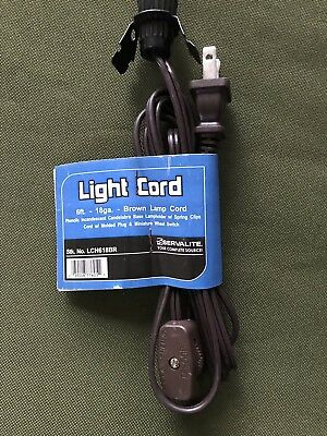 5 New 6' Lamp Cord Assemblies Brown With Switch & Candelabra Base Lampholder SA