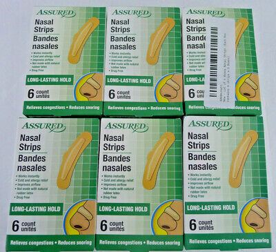 Lot 6 Boxes 36 Pieces Assured Nasal Strips Snoring Congestion