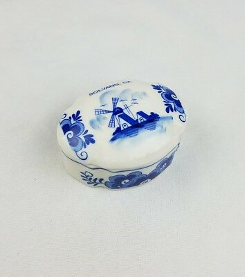 Vtg Delft Holland hand painted ceramic jewelry box trinket box Solvang CA decor