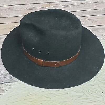 ca6211bf71c34 Broner Outback 100% Wool Felt Black Hat Outback Western Boho Made in USA