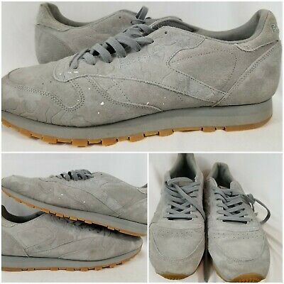 7f3744ce758 REEBOK CLASSIC LEATHER Mu Mens Gray Suede Athletic Lace Up Training ...