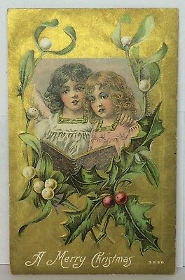 Postcard A Merry Christmas Vintage #3630 Angels Gold Holly Posted 12-22-1911?