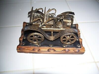 Vintage Antique Rustic Metal Brass Art Automobile On Wood Base Made In Spain!