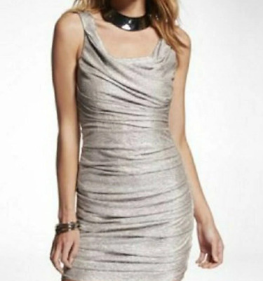 7695d779 EXPRESS GOLD METALLIC Sleeveless Ruched Bodycon Party Cocktail Dress ...