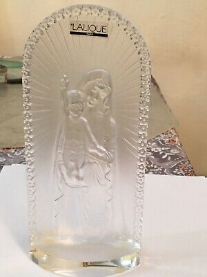 Lalique Paris Virgin Mary And Baby Jesus Frosted Crystal Art Figurine