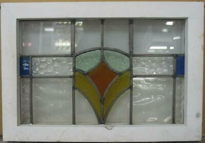 """OLD ENGLISH LEADED STAINED GLASS WINDOW Nice Geometric Band Design 19"""" x 13.25"""""""