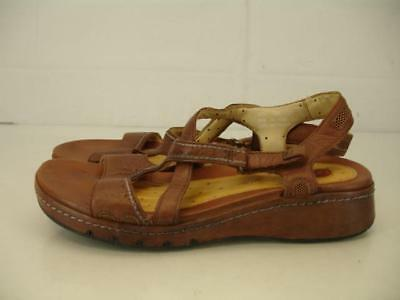 3860fee17de8 Womens 7.5 M Clarks Unstructured Un.Shade Brown Leather Sandals Slingback  Wedge