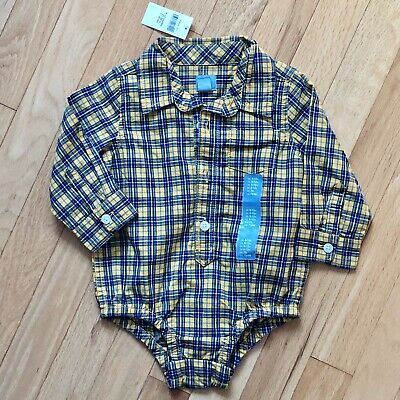 Gap Baby Boys Plaid Button Down Shirt Body Suit, 6-12M, New With Tags