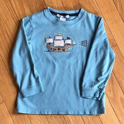 Janie And Jack Toddler Long Sleeve Ship In A Bottle Appliqué Tee Shirt, 2T