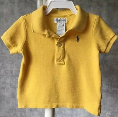 Ralph Lauren Baby Boy'S Yellow Polo Shirt, 6M, Excellent Condition