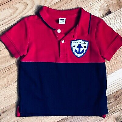 Janie And Jack Baby Boy's Red & Blue  Polo Shirt, 12-18M, Excellent Condition