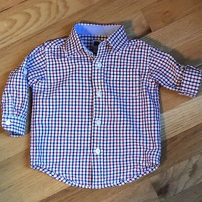 Janie And Jack Baby Boy'S Roll-Cuff Checked Shirt, 6-12M, Excellent Condition