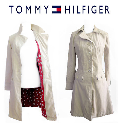 Vintage Tommy Hilfiger Fitted 3/4 Trench Coat Jacket Stars Lining Cotton Tan M
