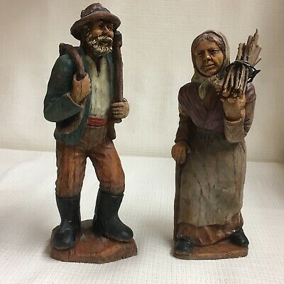 "Folk Art Hand Carved Couple ~ ""The Wood Gatherers"", Numbered By Sic, France"