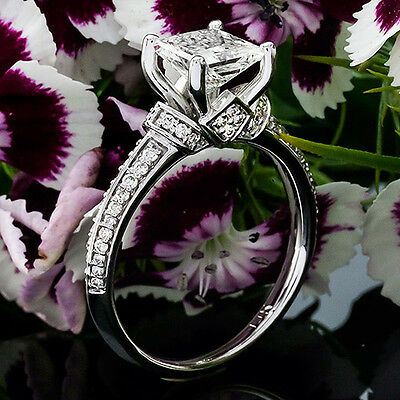1 CT Diamond Engagement Ring Princess Cut D/SI 14K White Gold