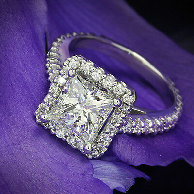 Halo Pave 4.00 Carat SI1/H Princess Cut Diamond Engagement Ring White Gold