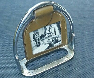 Photo Frame Antique D Shape 'Caliper for Horse Metal Chrome and Leather