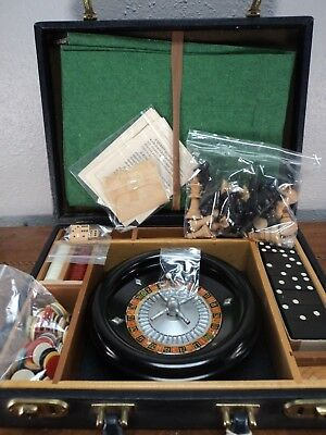 Vintage Rott Gambling Game Set Case Chess Checkers Roulette Backgammon Dominos