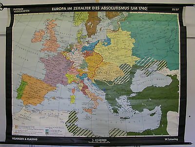 Schulwandkarte Wall Map School Role Europa in the Absolutismus 196x149