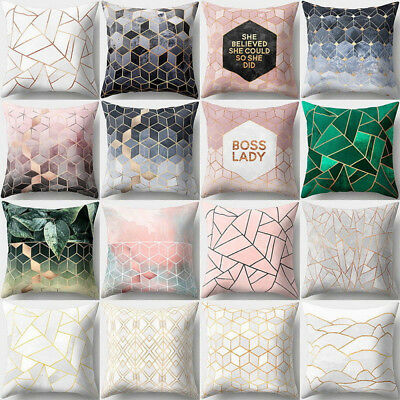 PINK GOLD SHINING Polyster Pillow Cases Geometric Cushion Cover