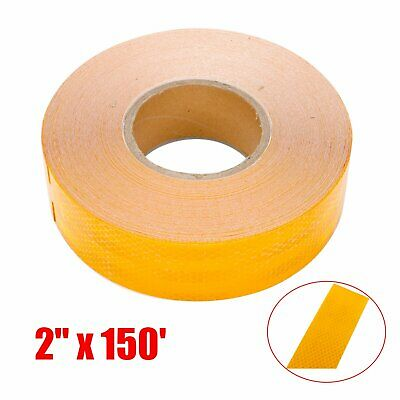 "*Reflective Conspicuity Tape 2/""x150/' Warning Sign Safety Car Truck Boat Yellow"