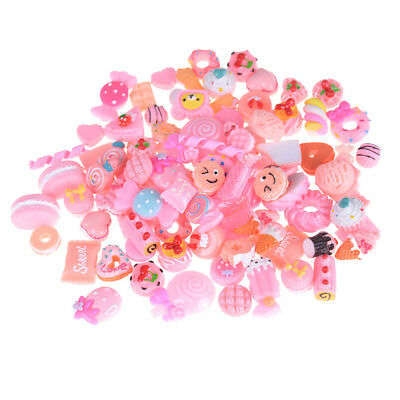 10Pcs Pink Blessing Bag Mixed Lot Cute Resin Food Candy DIY Craft Collection