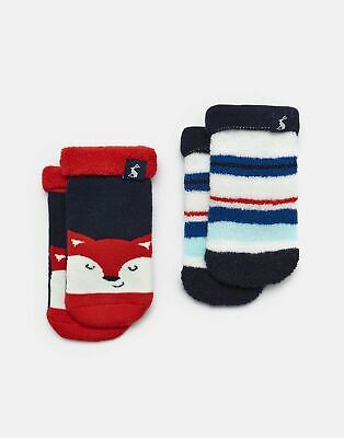 Joules Baby Two Pack Terry Towelling Socks in BLUE FOX MULTI